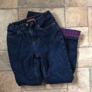 Boys Lands End flannel lined jeans 12 slim